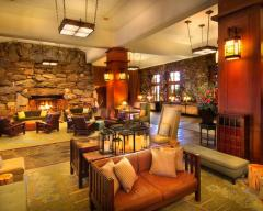 The lobby today -- where we hang out and sit by the fireplace!
